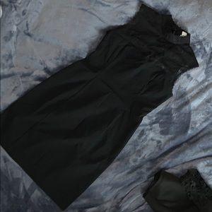 Lace top black cocktail dress